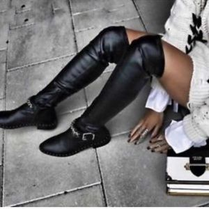 Black Chain Over The Knee Boots